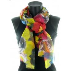 Foulard 100% polyester à fleurs