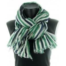 Foulard 100% coton à rayure vert