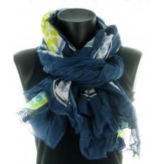 Foulard 100% coton, motif ananas sur fond bleu