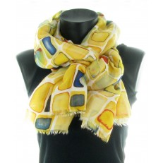 Foulard 100% viscose, motif rectangle sur fond jaune