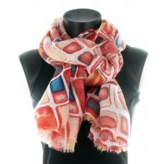 Foulard 100% viscose, motif rectangle sur fond rouge