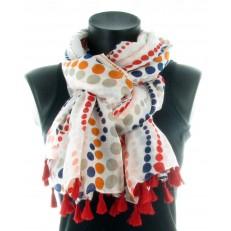 Foulard 50% viscose 50% coton, motif pois et pompom rouge