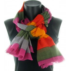 Foulard 100% coton, multicolore à rayures
