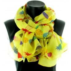 Foulard 100% polyester, multicolore à fleurs