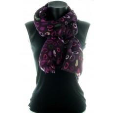 Carré 100% polyester, fond gris et fleurs abstrettes orange et viollet