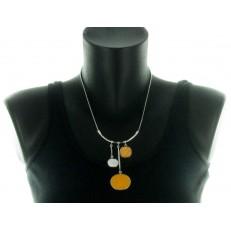 Collier métal et pendentifs nacre et bois