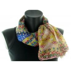 Carré 100% soie motif fleurs multicolore