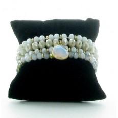 Bracelet multi-rangs élastiqué en perles