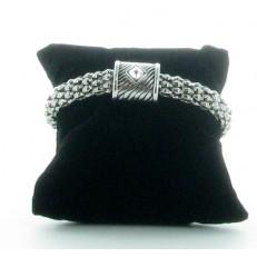 Bracelet à aimant et métal argenté