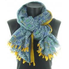 Echarpe à motif floral bleu, moutarde et vert à pompons