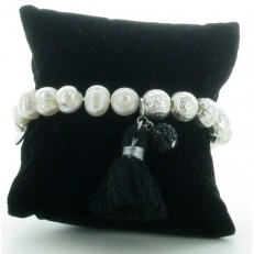 Bracelet élastiqué en perles et pompon