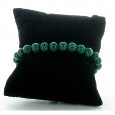 Bracelet élastiqué en pierres Malachite verte