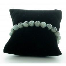 Bracelet élastiqué en pierres Jaspe Dalmatien