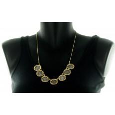 Collier métal argent et doré cercles en dentelle