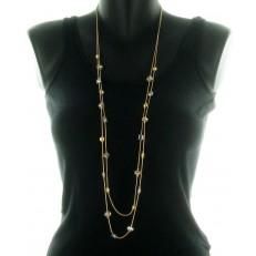 Collier double rang en métal doré et perles