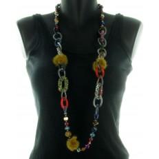 Collier perles et pompon multicolore