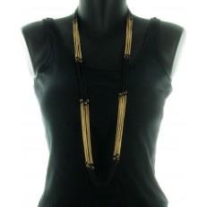 Collier multi-rangs métal doré et noir