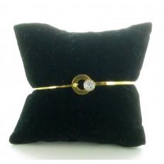 Bracelet rigide en acier doré fermeture à crochet