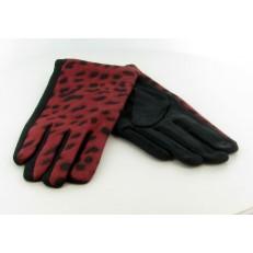 Gant en léopard rouge et noir