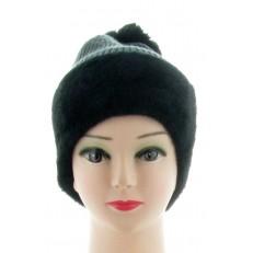 Bonnet noir et gris tricot et fausse fourrure pompon amovible à pression