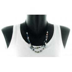 Collier double rang chaine métal bleu pampilles métal argenté et perles bleues