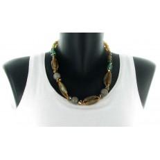 Collier double rang chaine métal rouge pampilles métal argenté et perles rouges