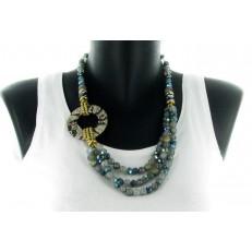 Collier asymétrique de perles grises et bleues cercle léopard imitation cuir