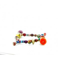 Bracelet élastique à perles multicolores et pompons violet et orange