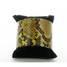 Bracelet manchette imitation cuir imprimé zèbre couleur moutarde