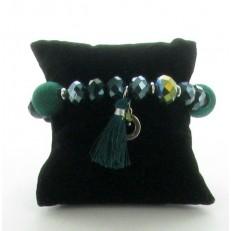 Bracelet de perles et boules tissus léopard et pompon vert sapin