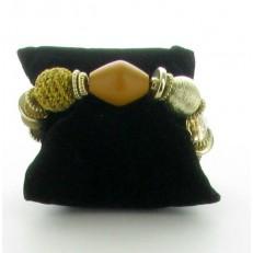Bracelet de perles élastiqué moutarde
