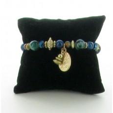 Bracelet élastiqué à perles et pampilles bleues