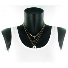 Collier trois longueurs métal doré médaillon en nacre