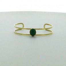 Bracelet demi-jonc en acier doré et pierres vertes