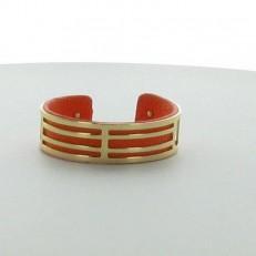 Bracelet demi-jonc en imitation cuir orange et métal doré