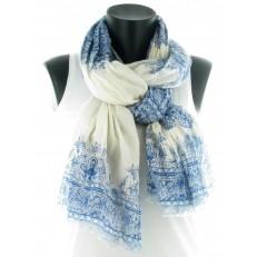 Foulard à décors de chinoiseries bleues