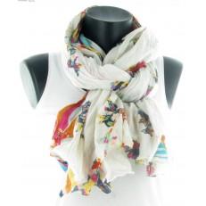 Foulard à décor de poissons patchwork multicolores sur fond blanc