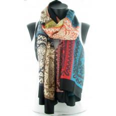 Foulard à carrés muli-colore et pourtour noir