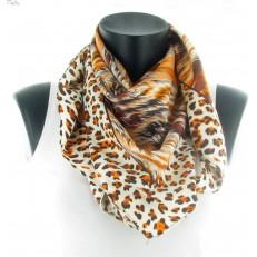 Carré léopard orange et feuillage