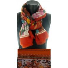 Foulard multicolore impression florale cadre rouille à frange