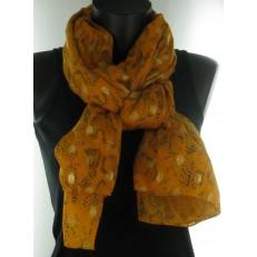 Foulard léopard orange pattes de mouches dorées