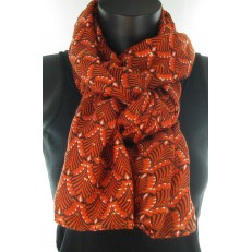 Foulard orange et petit rectangles dorés