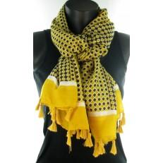 Foulard à damier jaune et noir et pompons