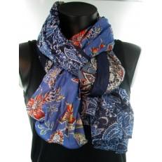 Foulard impression fleurs différents bleus