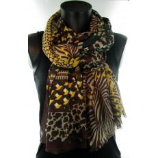 Foulard multi-motifs chocolat vert et jaune