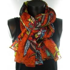Foulard orange à motifs de feuilles multicolores