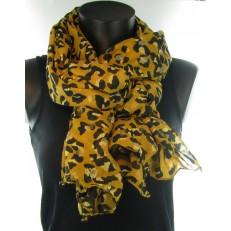 Foulard moutarde à impression léopard