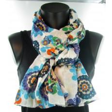 Foulard à petites fleurs bleues et orange