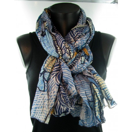 Foulard bleu motif poisson