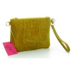 Pochette en peau et cuir jaune porté poignée ou porté croisé